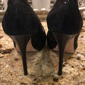 Jimmy Choo Shoes - Jimmy Choo 37 glitter heels black open toe